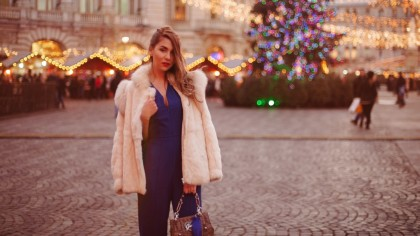 ANSWEAR, Christmas, CONTEST, GIVEAWAY, Luana Codreanu, blog, blogger, fashion blog, fashion blogger, style, style blogger, blue, jumpsuit, white fur, hairstyle, makeup, ootd, outfit, street style, Guess, AW2015, trends, fashion