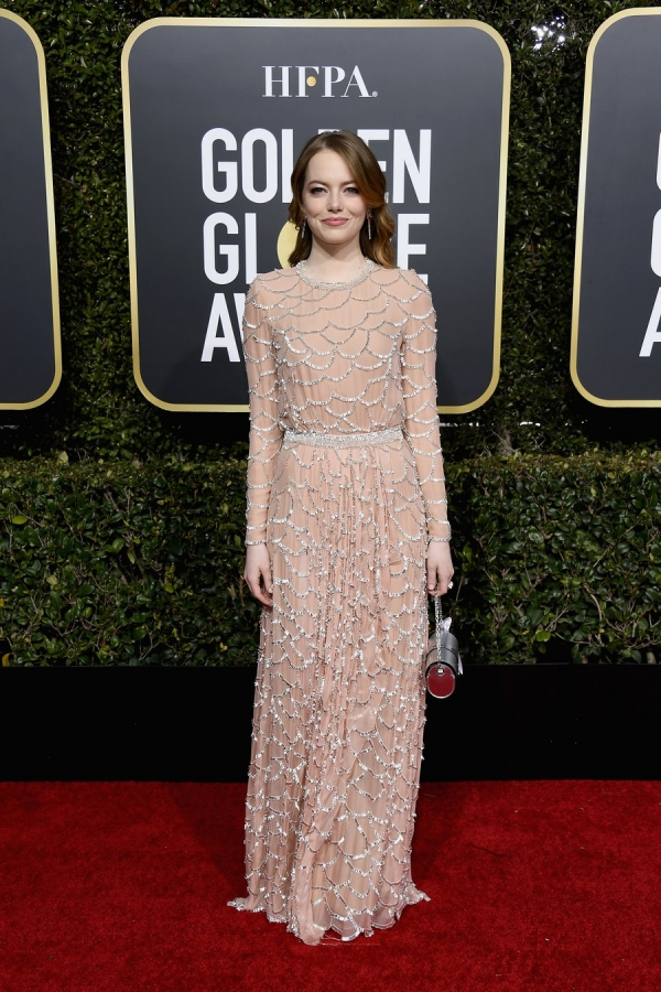 Emma Stone, Louis Vuitton, Golden Globes 2019, 76th edition, red carpet, best dressed, Hollywood,