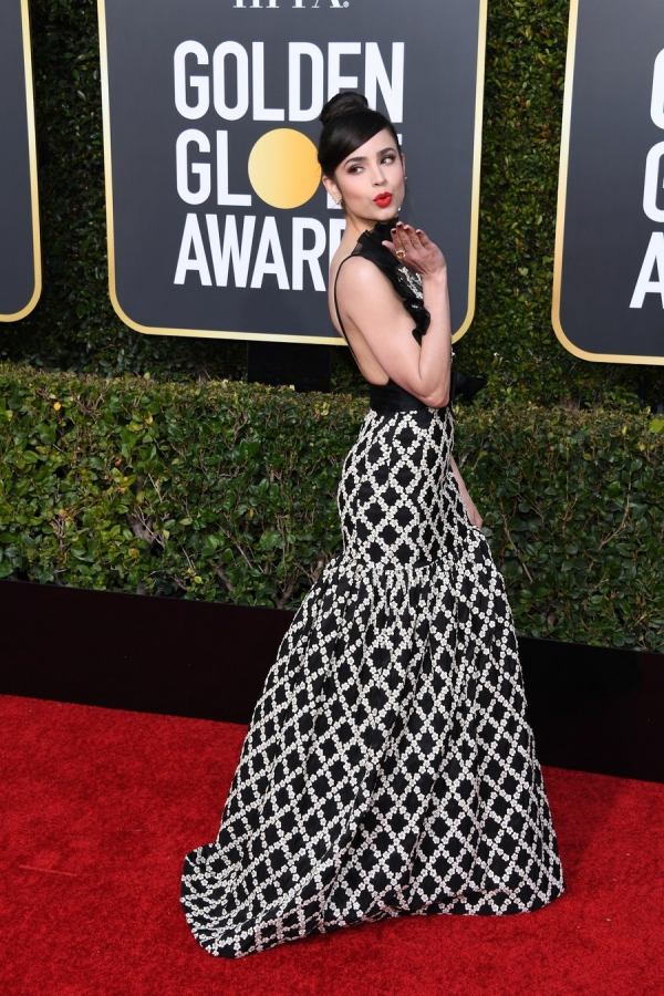 Sofia Carson, Giambattista Valli Haute Couture, Golden Globes 2019, 76th edition, red carpet, best dressed, Hollywood,