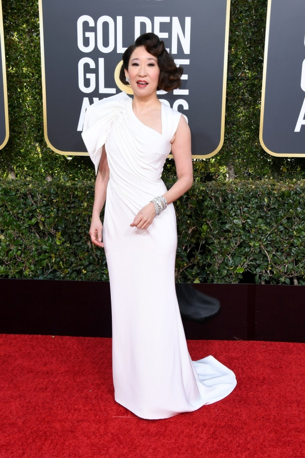 Sandra Oh, Stella McCartney, Golden Globes 2019, 76th edition, red carpet, best dressed, Hollywood,